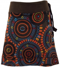 Embroidered mini skirt, boho chic skirt, retro mandala - coffee