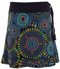 Embroidered mini skirt, boho chic skirt, retro mandala - black/bl..