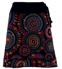 Embroidered mini skirt, boho chic skirt, retro mandala - black/re..