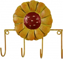 Hook bar with figures, ethnic coat hook, metal coat hook - flower