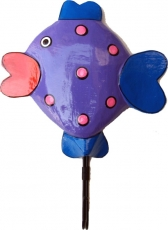 Colourful wooden coat hook, wall hook, coat hook - fish purple