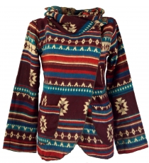 Cape, Boho wrap jacket Inca pattern - brown/turquoise