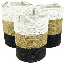 Tricolour water hyacinth storage basket in 3 sizes - white