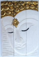Threepart Buddha mural, antique white, left looking 76*50 cm - De..