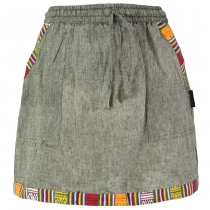 Ethno Goastyle mini skirt with woven pattern - grey