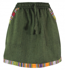 Ethno Goastyle mini skirt with woven pattern - olive