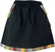 Ethno Goastyle mini skirt with woven pattern - black