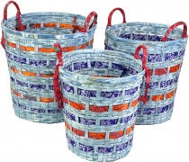 Exotic basket in 3 sizes - blue/red