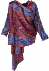 Wide cape, convertible wrap jacket Boho chic - blue/red