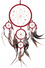 Dreamcatcher with semi-precious stones - red