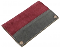 Tobacco pouch, tobacco pouch, suede swivel bag - bordeaux/grey