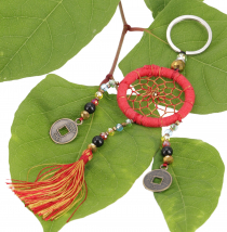 key ring pocket pendant dream catcher - red