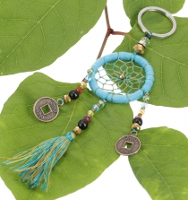 key ring pocket pendant dream catcher - turquoise