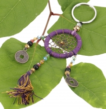 key ring, pocket pendant dreamcatcher - purple