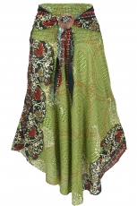Boho summer skirt, maxi skirt hippie chic - olive green/rust