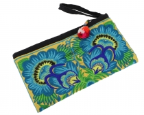 cosmetic bag with folklore embroidery - turquoise/yellow