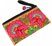 cosmetic bag with folklore embroidery - pink/yellow