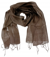 Silk scarf, Thai scarf made of silk - chocolate brown