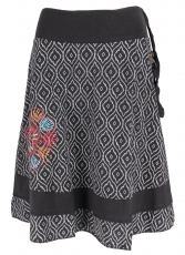 knee-length, swinging skirt - black/grey