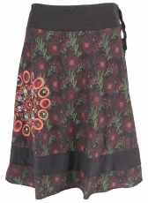knee-length, swinging skirt - black/stainless