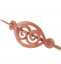 Ethno wood hair slide with stick, Boho hair decoration - spiral