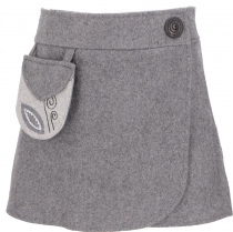 Embroidered wool felt wrap skirt Cacheur - grey
