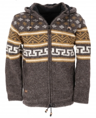 Wool jacket with nordic pattern, cardigan - brown/mustard