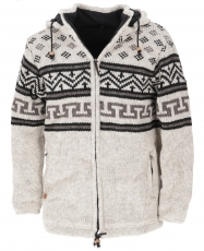 Wool jacket with nordic pattern, cardigan - light grey/black