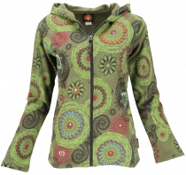 Boho hippie chic jacket, embroidered jacket - olive green/lemon
