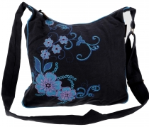 Spacious shoulder bag, hippie bag, Goa bag - black/turquoise