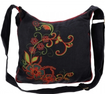 Spacious shoulder bag, hippie bag, Goa bag - black/red