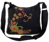 Spacious shoulder bag, hippie bag, Goa bag - black/lemon