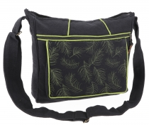 Ethno shoulder bag, Boho bag feather, Nepal bag - black