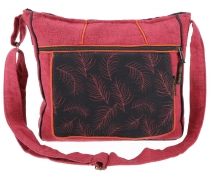 Ethno Shoulder Bag, BohoBag Feather, Nepal Bag - bordeaux red
