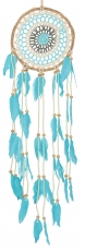 dreamcatcher with crocheted lace - white/turquoise 16 cm