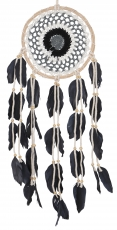 dreamcatcher with crocheted lace - cream/black 16 cm