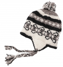 Woollen hat with earflaps Norwegian cap - white/black