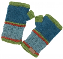 Hand warmers, knitted wool warmers from Nepal - petrol