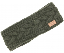 Woollen-knitted browband from Nepal with plait pattern - dark oli..
