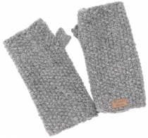Hand cuffs, wool cuffs with pearl pattern from Nepal - grey