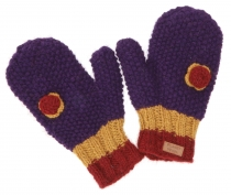 Gloves, knitted mittens with crocheted flower Nepal - purple