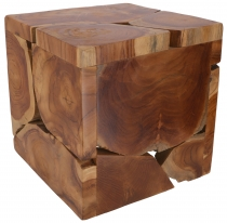 decorative cube made of burl wood, light object