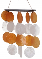 Long shell wind chime, Klangspiel - orange white