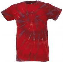 Batik T-Shirt, Men Short Sleeve Tie Dye Shirt - red/purple spiral
