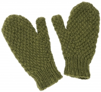 Hand-knitted mittens, wool gloves, mittens, mittens - olive green