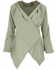 Boho wrap jacket - light olive green