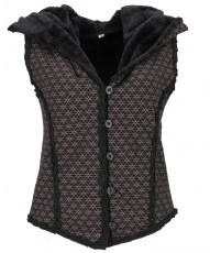 Short Goa vest with wide, fluffy hood `Flower of Life` - black/br..
