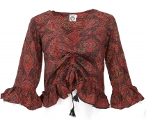 Blouse top Boho chic, silky hippie blouse with long arms - red/bl..