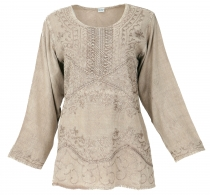 Embroidered indian hippie long sleeve tunic, boho-chic blouse - b..