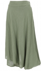 Ethno divided skirt, boho maxi skirt, summer skirt - light olive ..